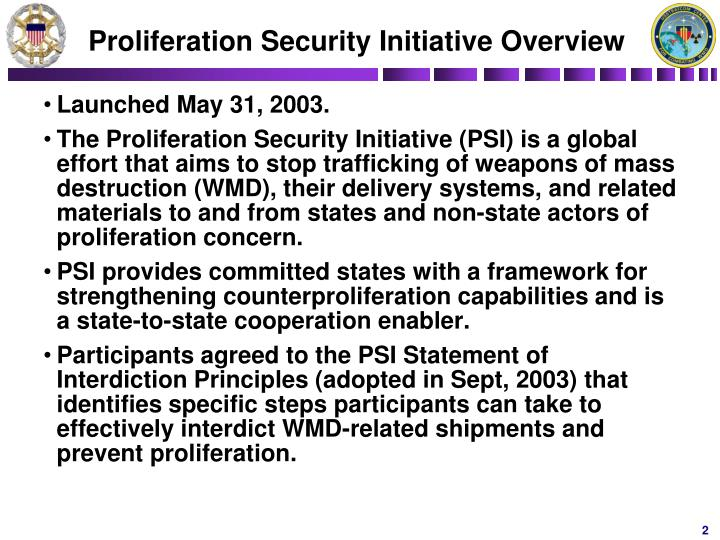 Proliferation security initiative overview