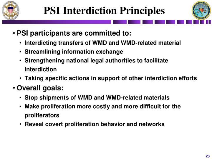 PSI Interdiction Principles