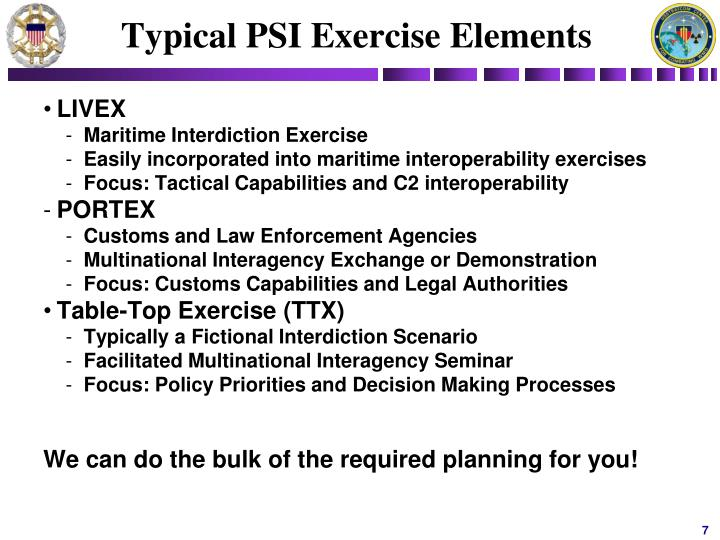 Typical PSI Exercise Elements