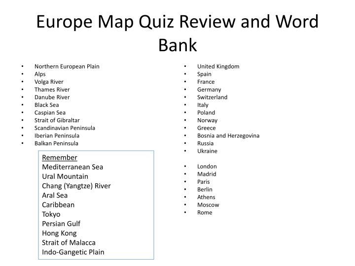 PPT - Europe Map Quiz Review and Word Bank PowerPoint ...