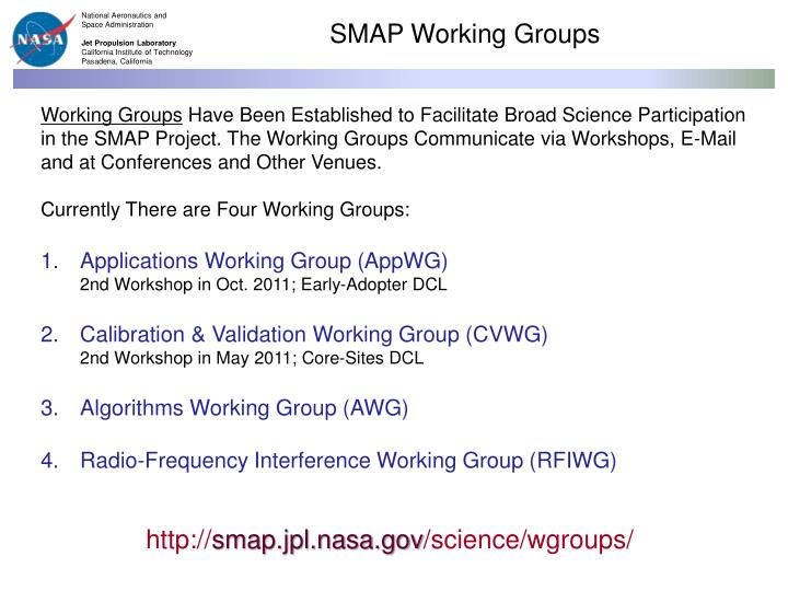 SMAP Working Groups