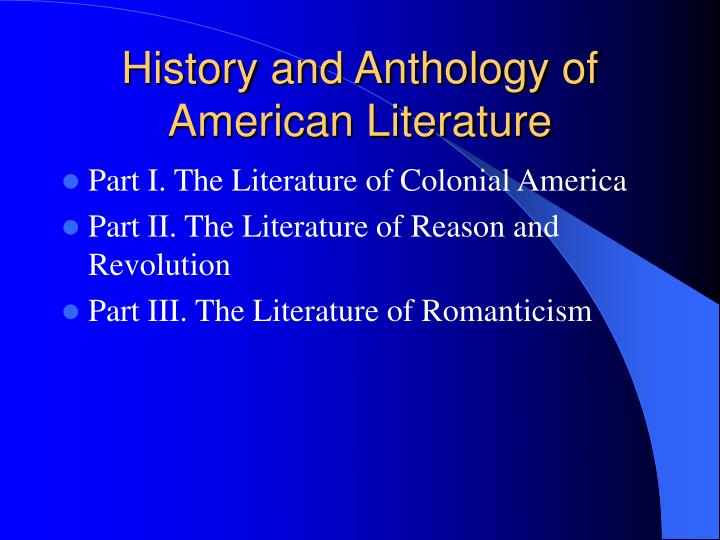 history and anthology of american literature n.