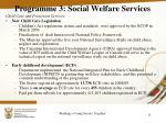 programme 3 social welfare services