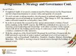programme 5 strategy and governance cont