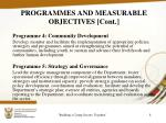 programmes and measurable objectives cont