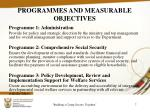 programmes and measurable objectives