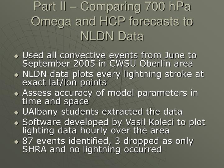Part II – Comparing 700 hPa Omega and HCP forecasts to NLDN Data