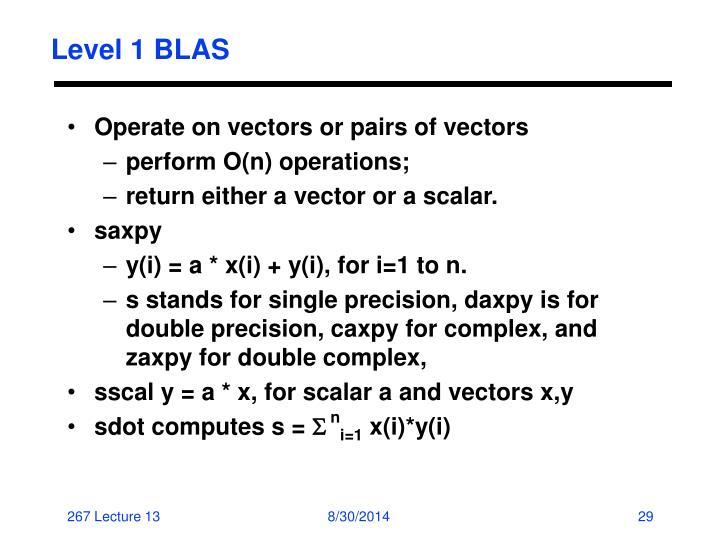 Level 1 BLAS