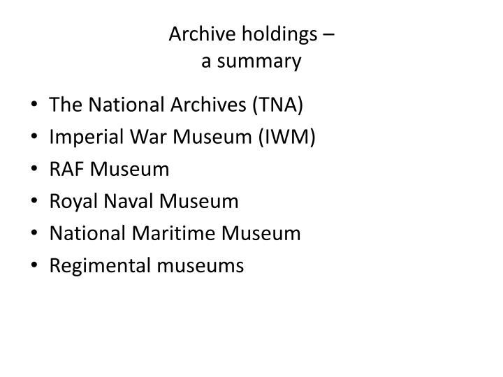 Archive holdings –