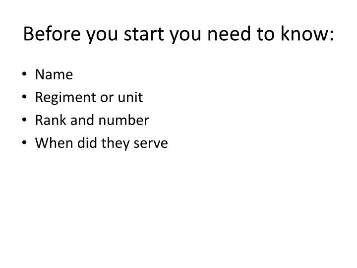 Before you start you need to know: