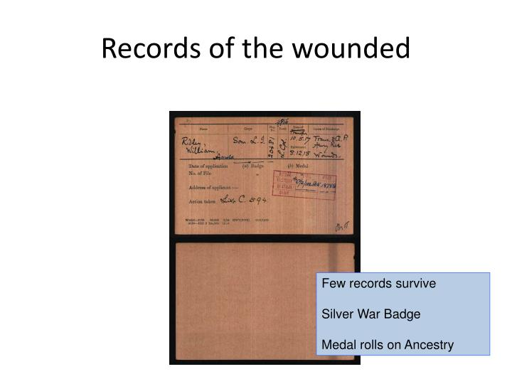 Records of the wounded