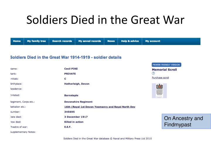 Soldiers Died in the Great War