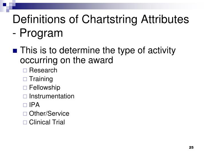 Definitions of Chartstring Attributes - Program
