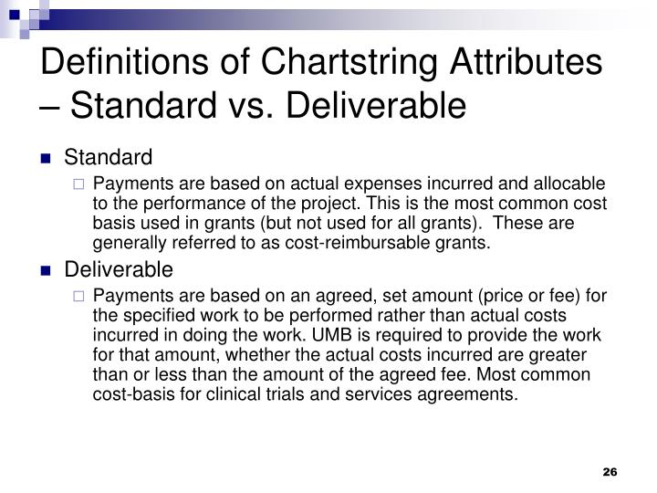 Definitions of Chartstring Attributes – Standard vs. Deliverable