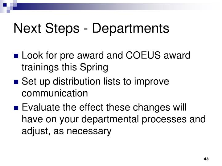 Next Steps - Departments
