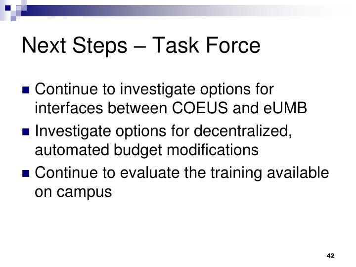 Next Steps – Task Force