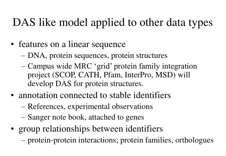 DAS like model applied to other data types