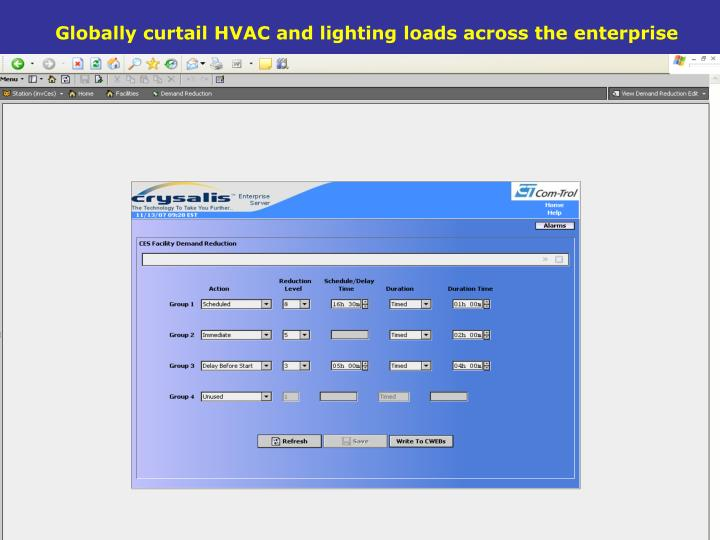 Globally curtail HVAC and lighting loads across the enterprise