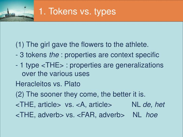 1 tokens vs types