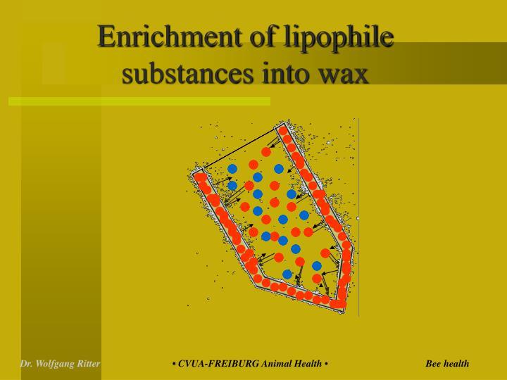 Enrichment of lipophile substances into wax