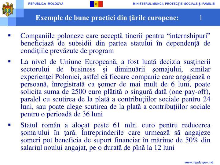 Exemple de bune practici din ţările europene: