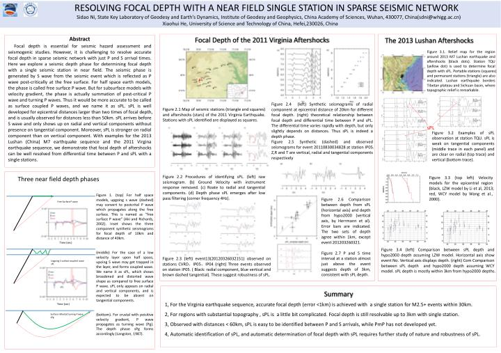 RESOLVING FOCAL DEPTH WITH A NEAR FIELD SINGLE STATION IN SPARSE SEI...