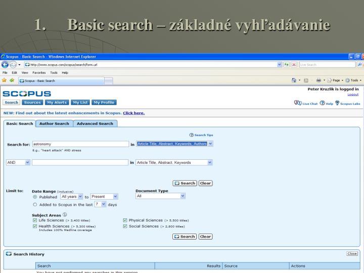 Basic search – základné vyhľadávanie