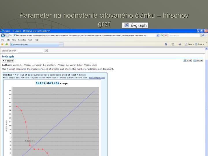 Parameter na hodnotenie citovaného článku – hirschov graf