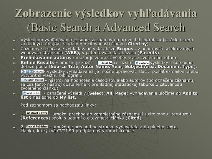 Zobrazenie výsledkov vyhľadávania