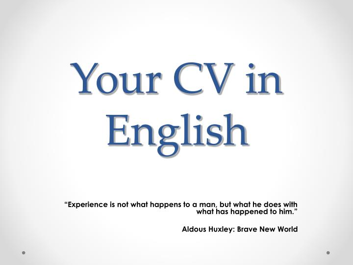 your cv in english n.