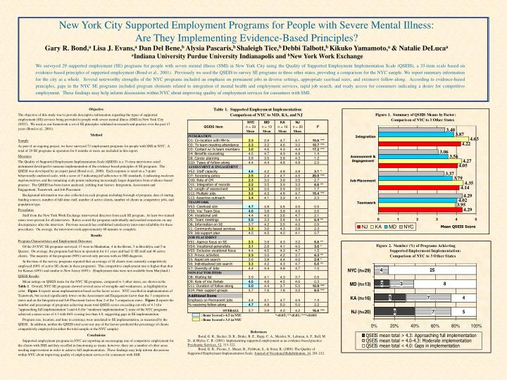 New York City Supported Employment Programs for People with Severe Mental Illness: