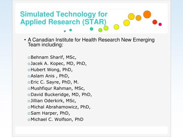 Simulated technology for applied research star