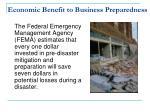 economic benefit to business preparedness