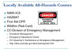 locally available all hazards courses