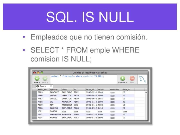 SQL. IS NULL