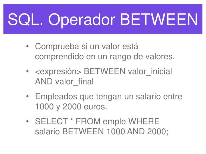 SQL. Operador BETWEEN