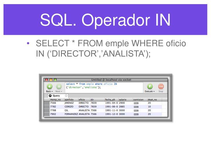 SQL. Operador IN