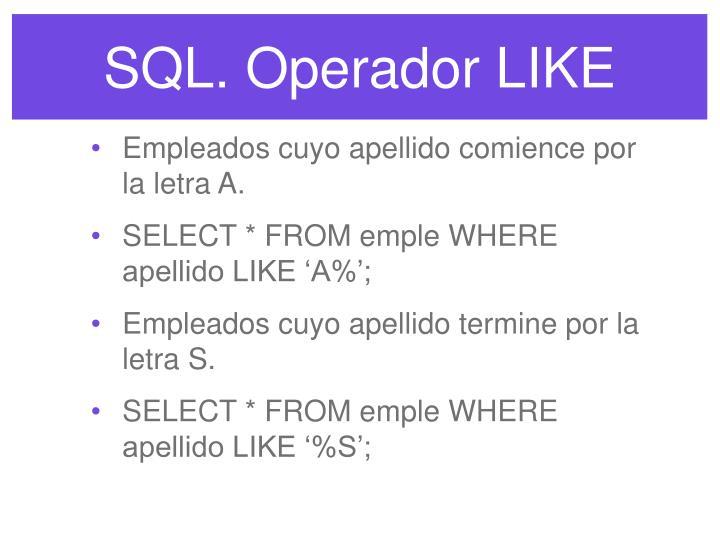SQL. Operador LIKE