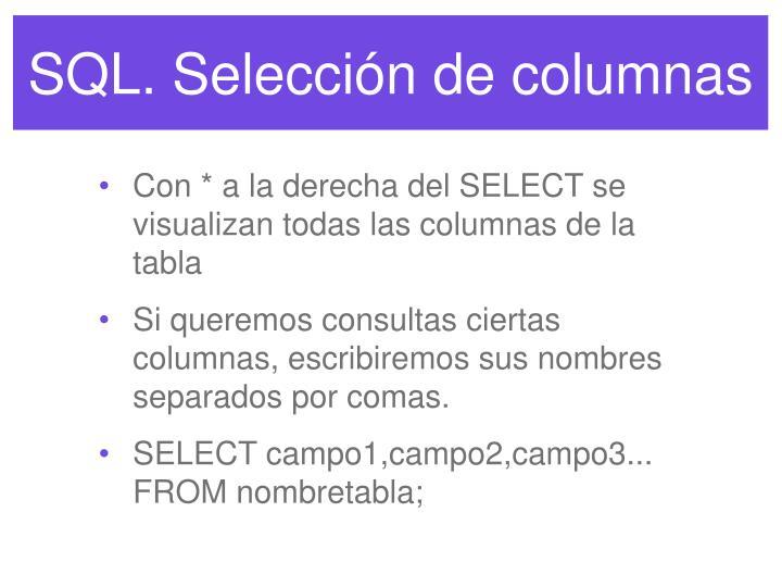 SQL. Selección de columnas