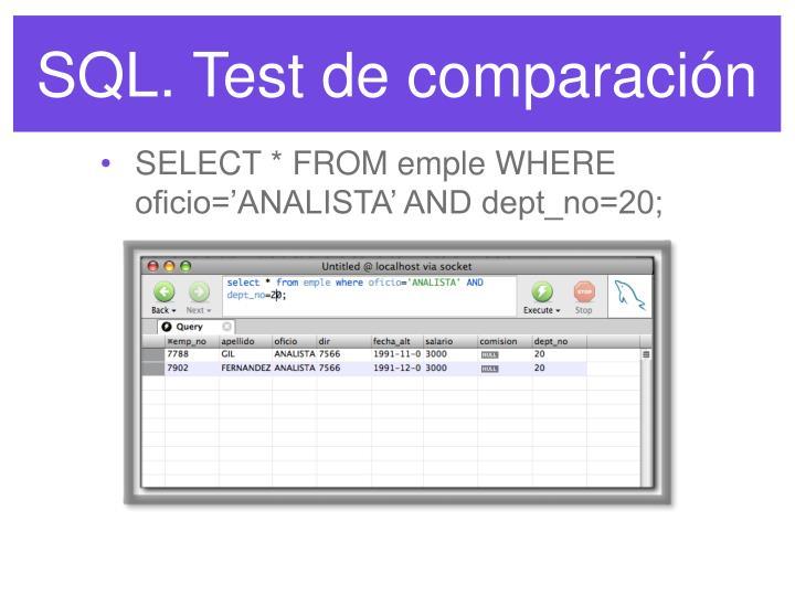 SQL. Test de comparación