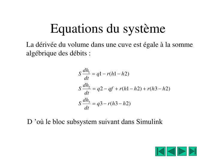 Equations du système