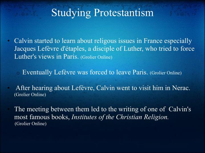 Studying Protestantism