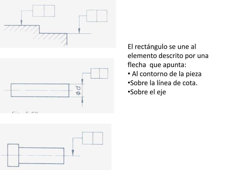 El rectángulo se une al  elemento descrito por una flecha  que apunta: