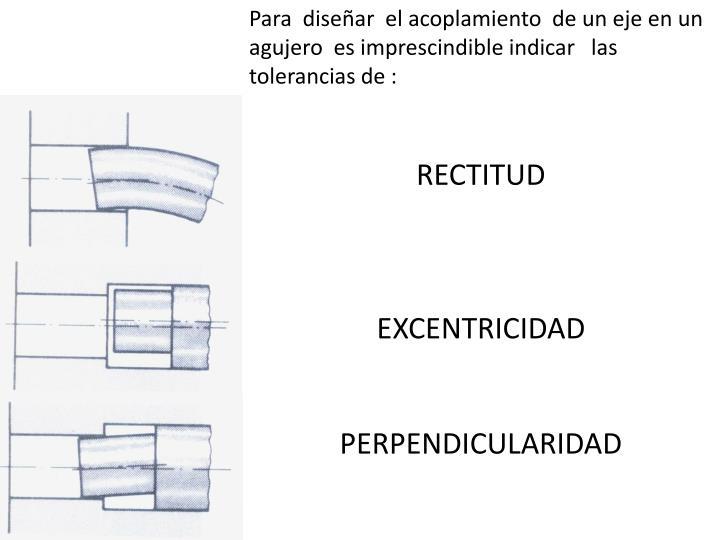 Para  diseñar  el acoplamiento  de un eje en un agujero  es imprescindible indicar   las tolerancias de :