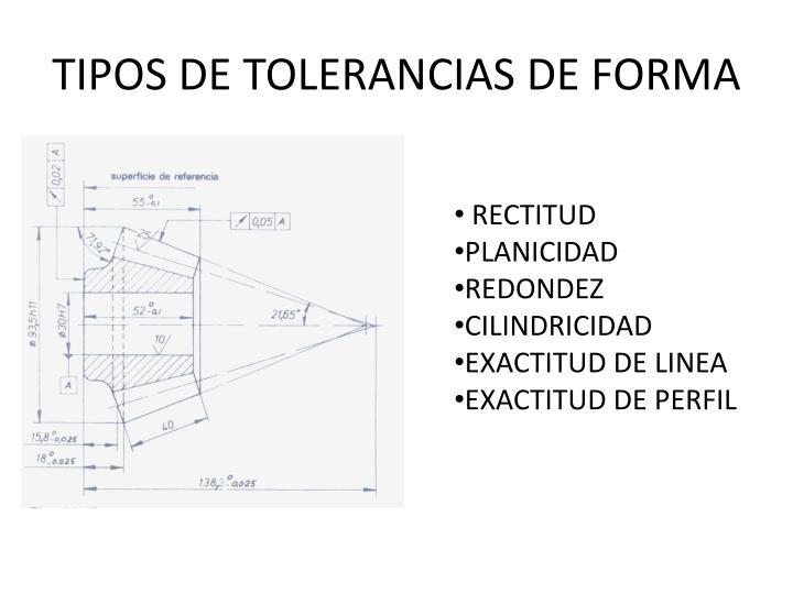 TIPOS DE TOLERANCIAS DE FORMA