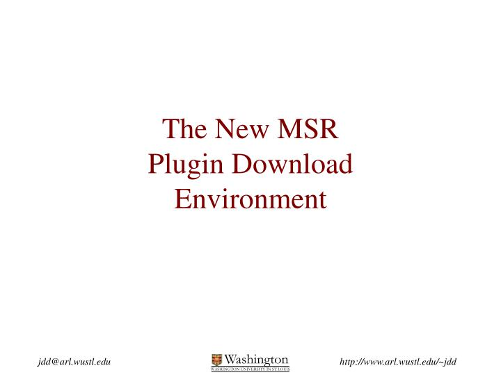 the new msr plugin download environment n.
