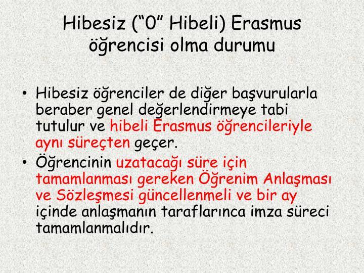 """Hibesiz (""""0"""" Hibeli) Erasmus öğrencisi olma durumu"""