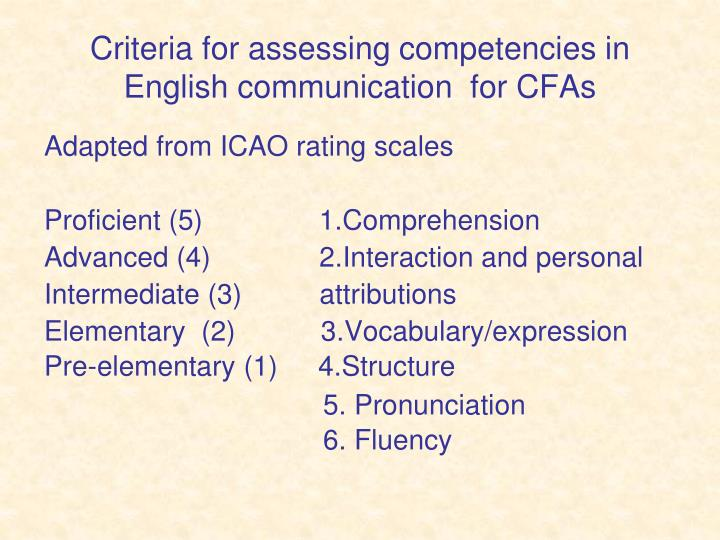 Criteria for assessing competencies in English communication  for CFAs