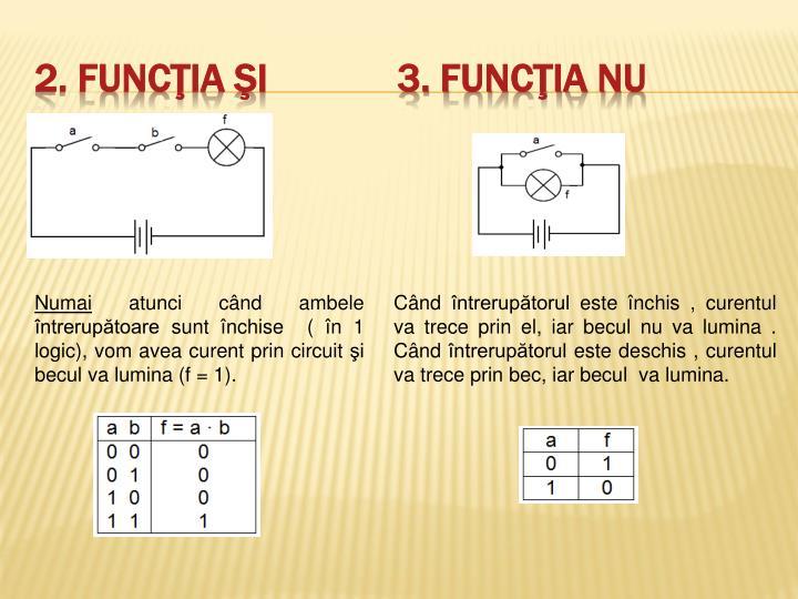 2. Funcţia ŞI             3. Funcţia NU