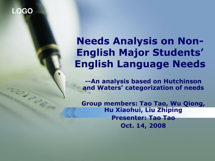 needs analysis on non english major students english language needs